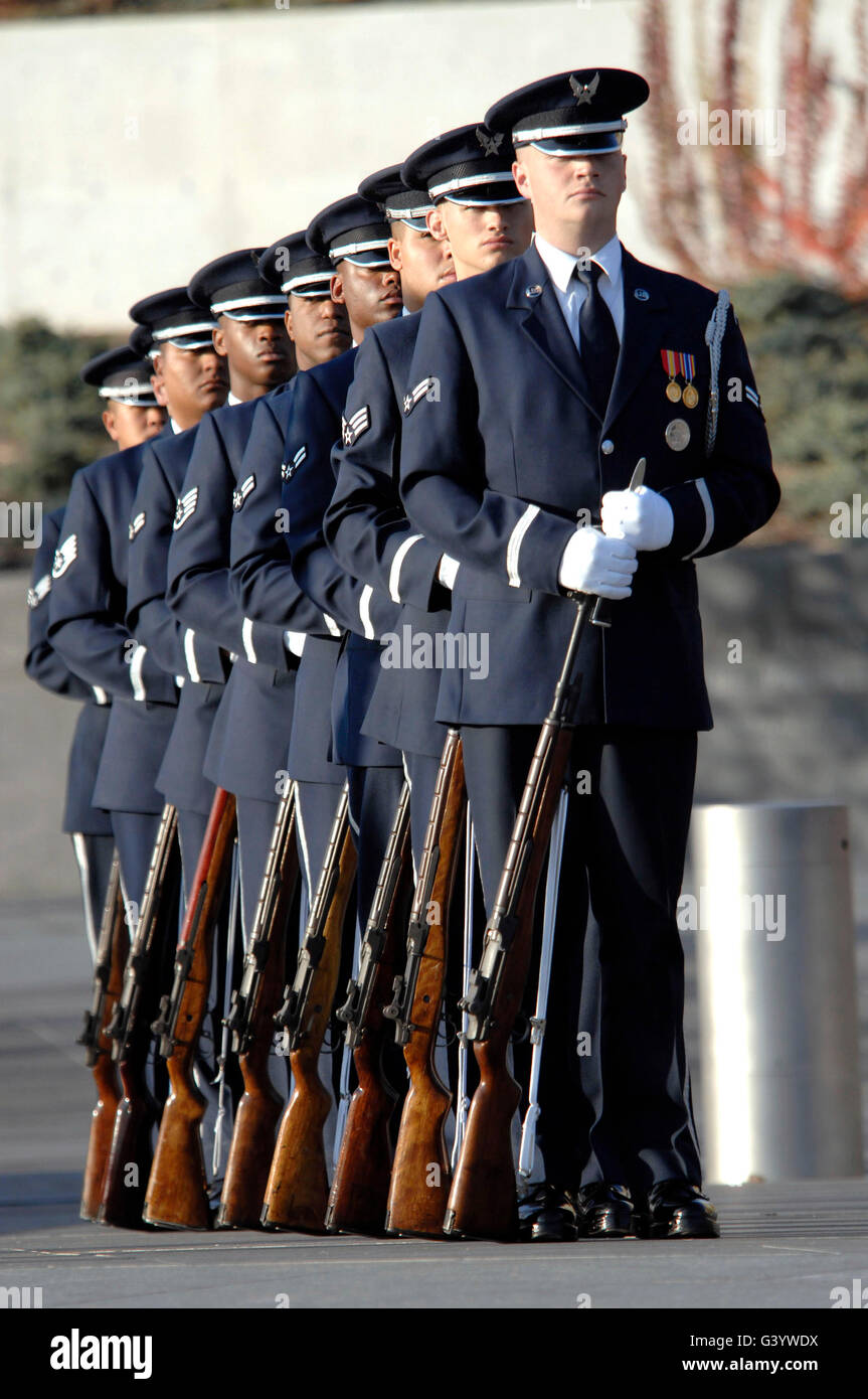 United States Air Force Honor Guard members. - Stock Image