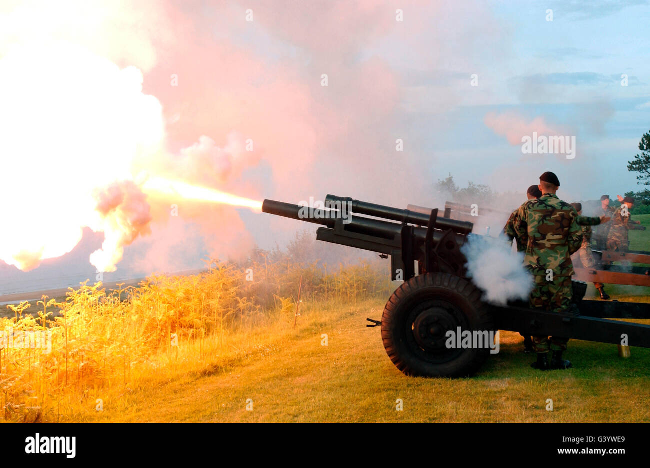 Honor Guard members fire a 105 mm Howitzer. - Stock Image