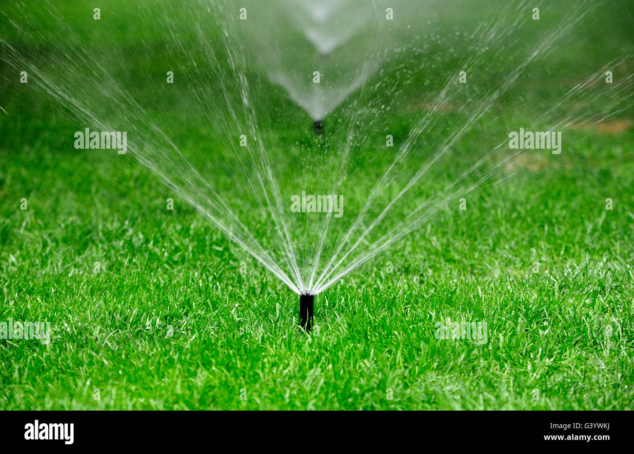 An in ground water sprinkler spraying water onto green grass within the Temple of Heaven scenic area in Beijing - Stock Image