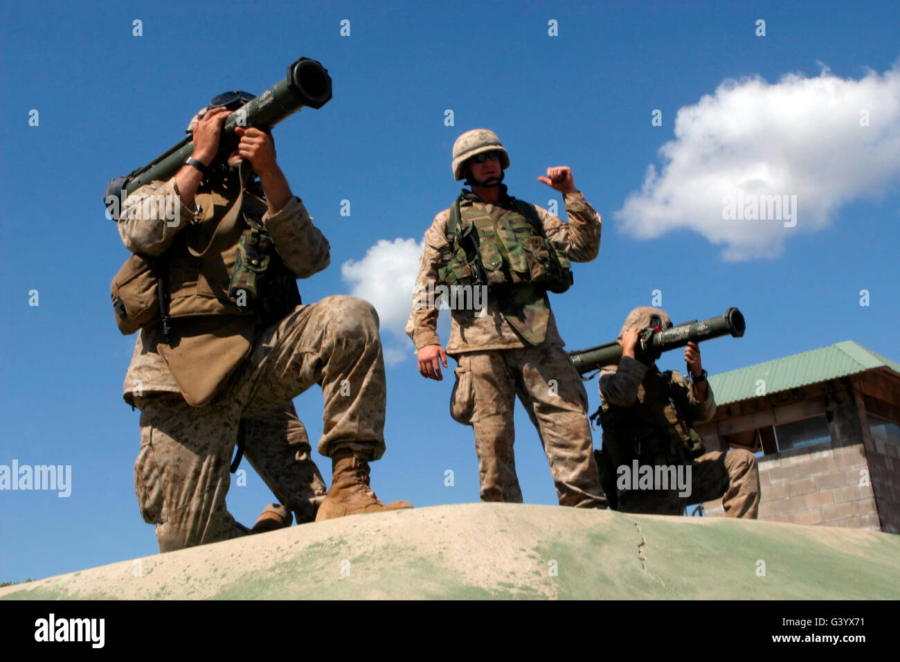 Marines are instructed on the operation of an Anti-Tank-4 rocket system. - Stock Image