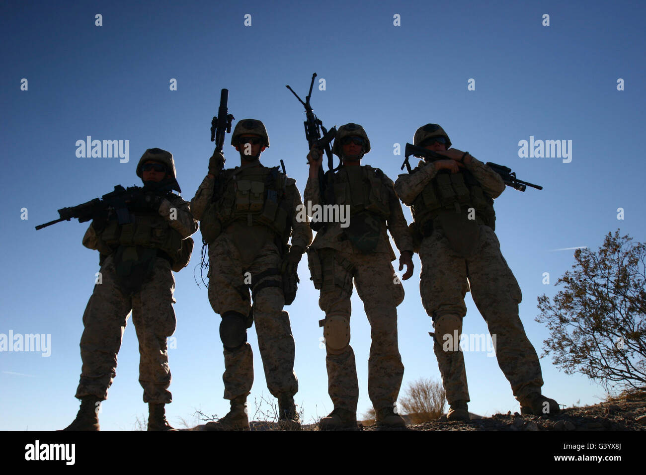 Marines landed at the Combat Center to conduct Mojave Viper pre-deployment training. - Stock Image