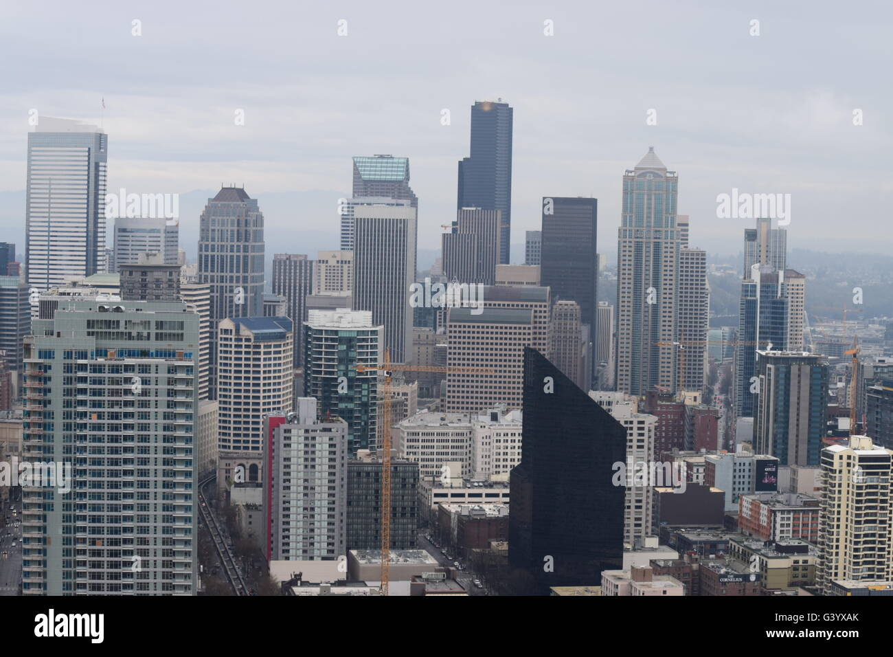 Downtown Seattle WA, cloudy day, overcast - Stock Image