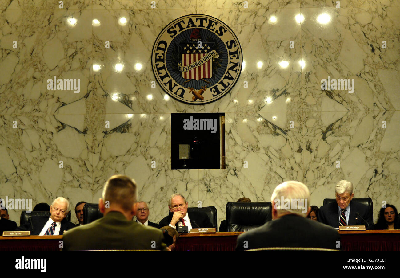 The Department of Defense address questions in a hearing. - Stock Image