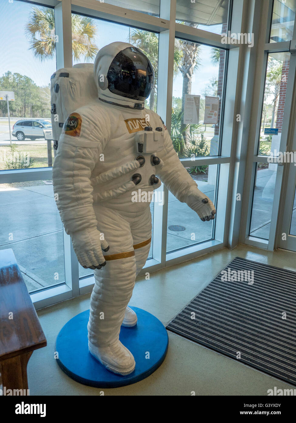 A Life Size NASA Spaceman Astronaut Statue At The Florida State Welcome Center On Interstate 75 South - Stock Image
