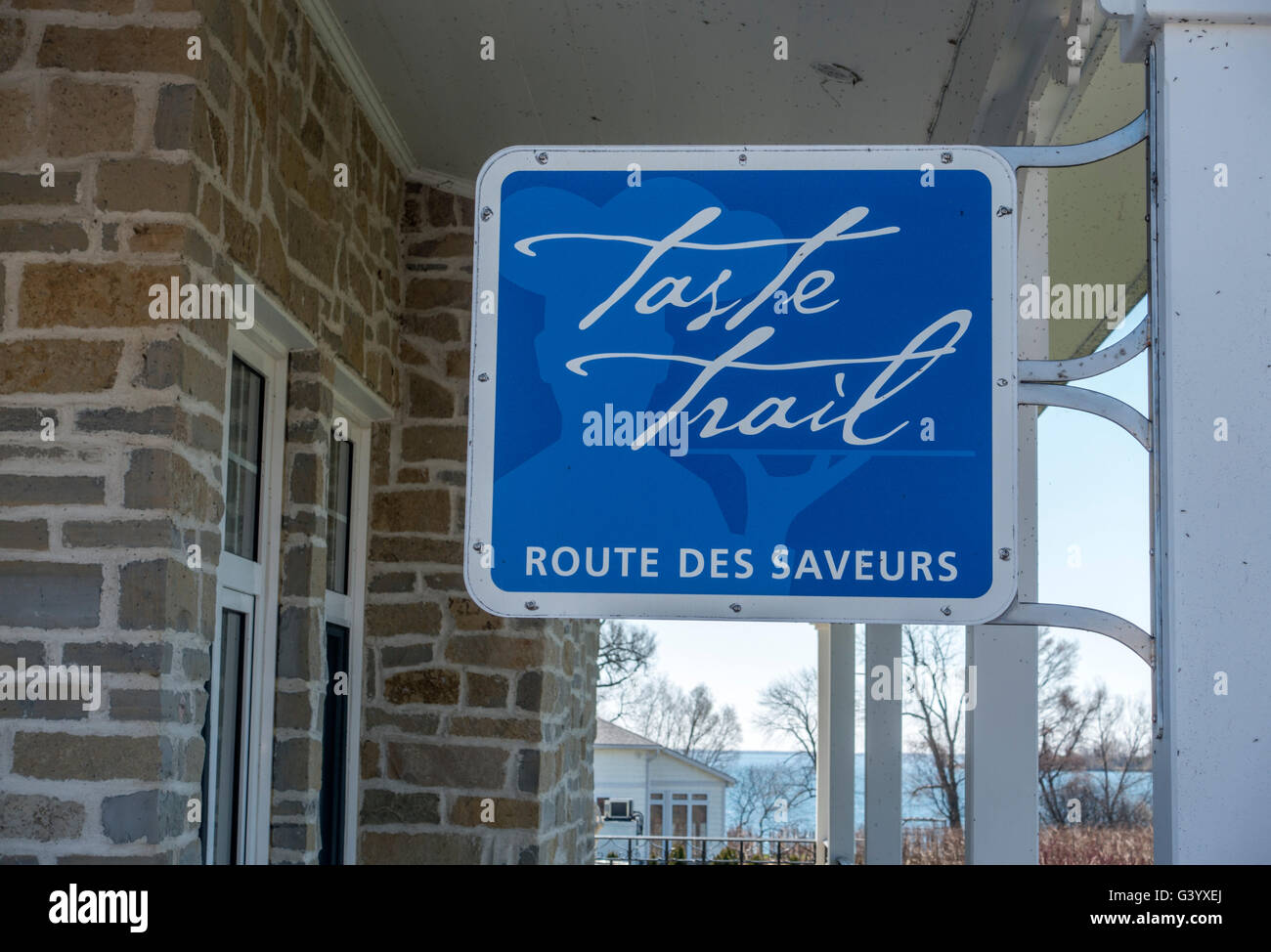Taste Trail Sign In Prince Edward County Ontario Canada, The Taste Trail Includes Wineries And Cheese Makers - Stock Image