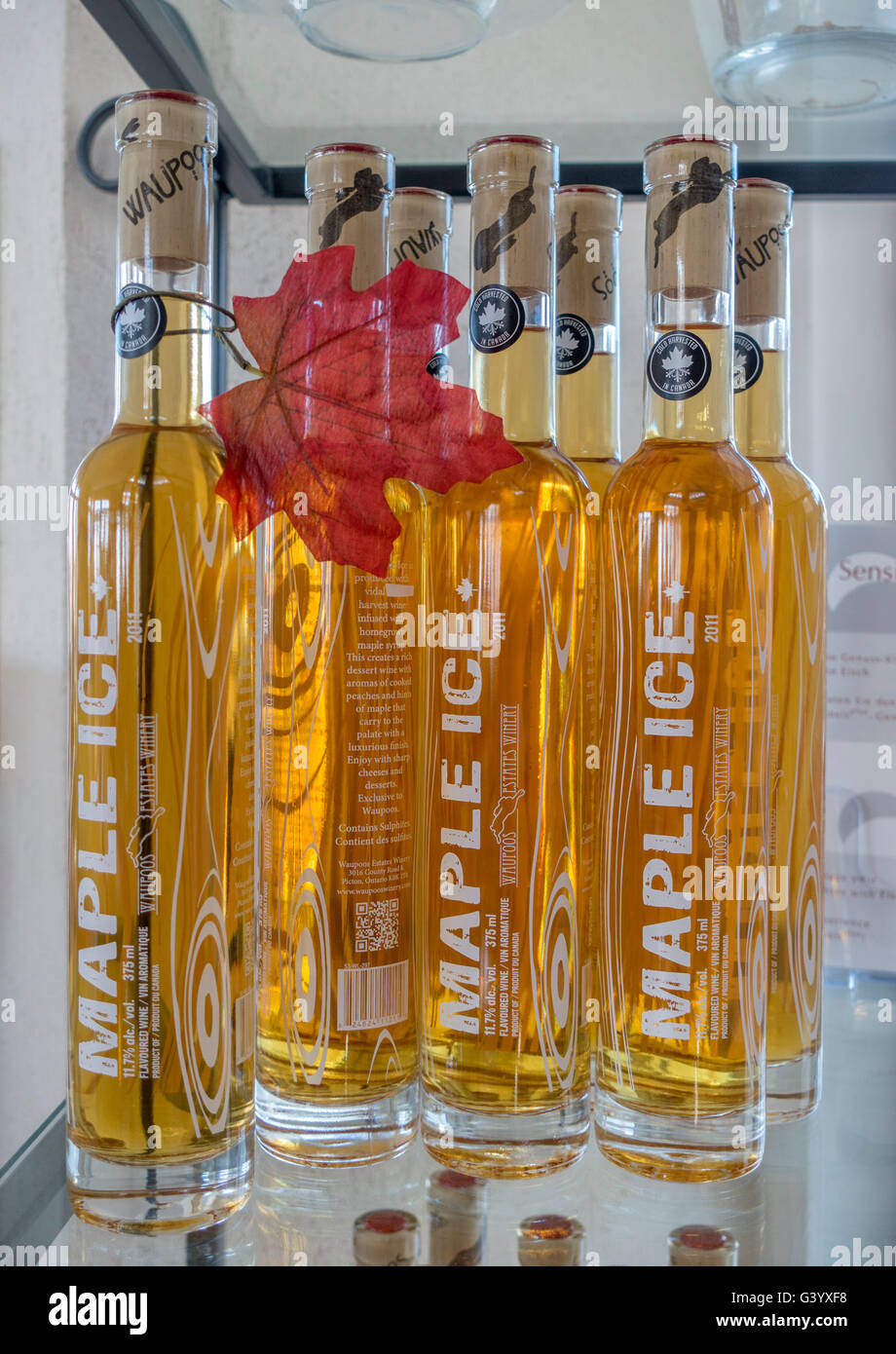 Waupoos Winery Maple Ice Wine Bottles For Sale On A Shelf, Waupoos Winery Is In Prince Edward County Ontario Canada - Stock Image