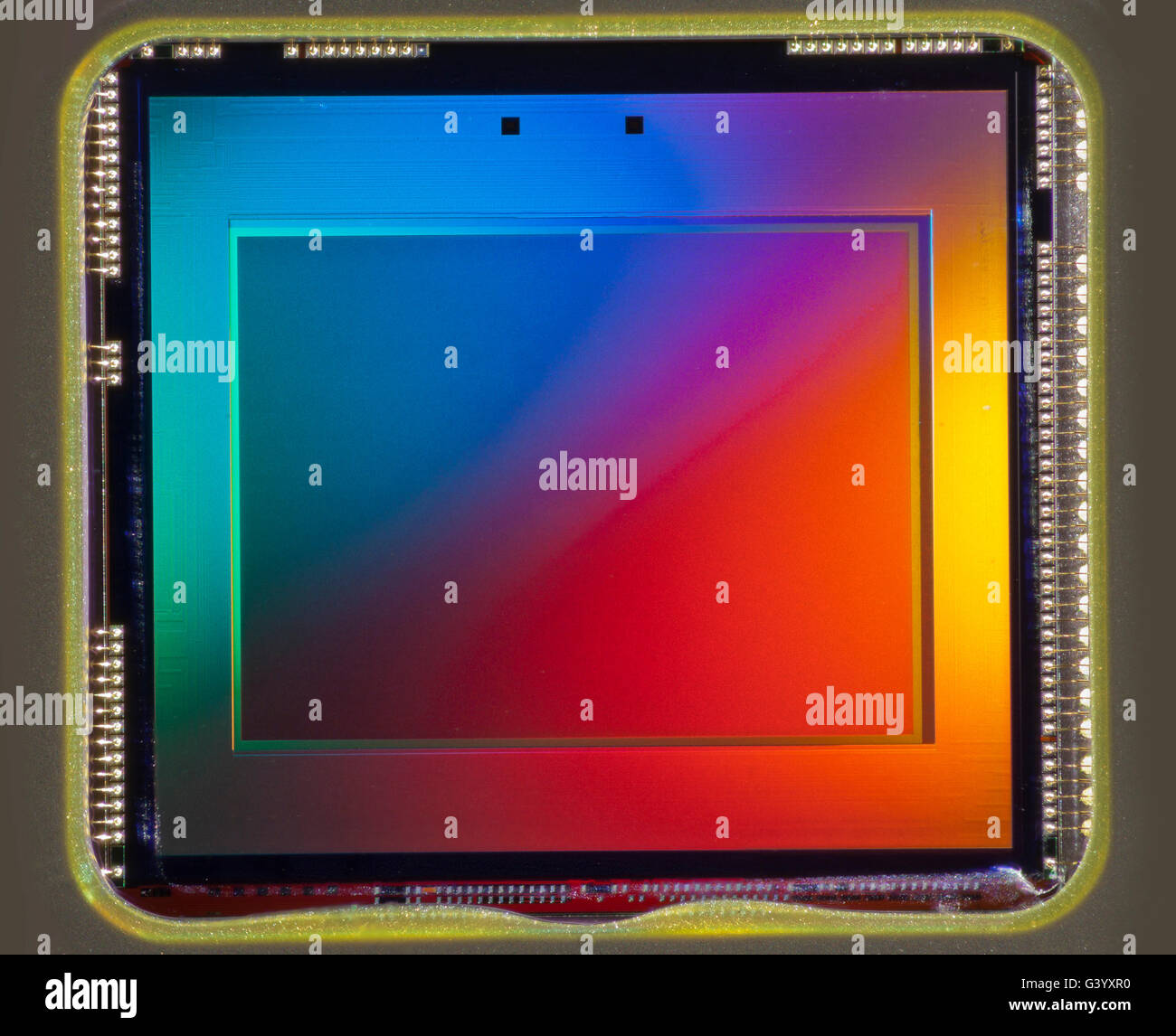 Tiny CCD imaging chip from an amateur consumer camera (approx 3mp) - Stock Image