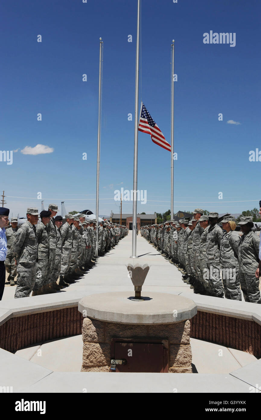 Members of Team Holloman stand before the POW/MIA monument. - Stock Image