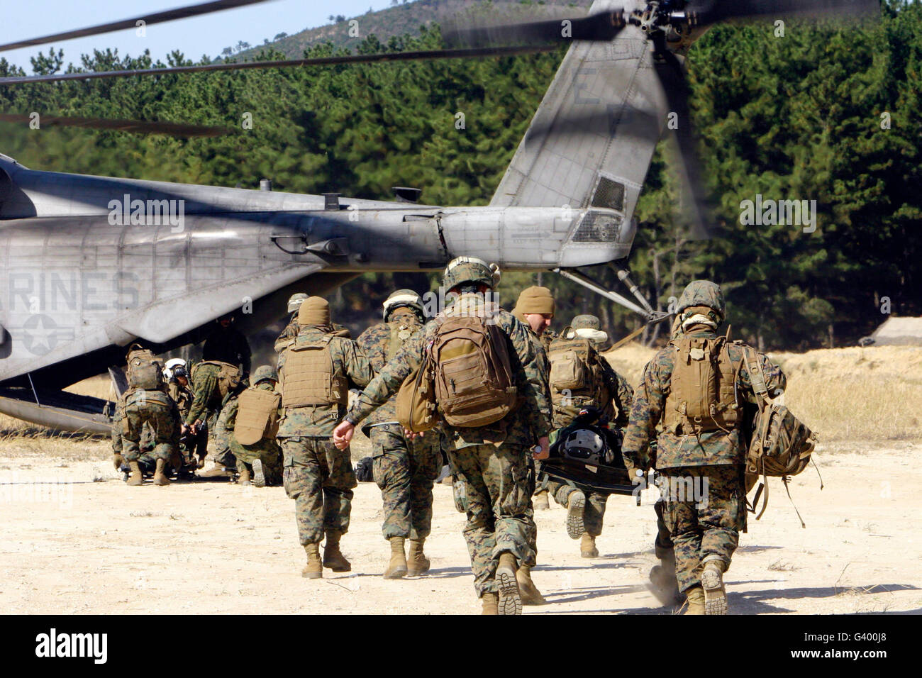 U.S. Navy corpsmen carry wounded service members to a CH-53E Super Stallion. - Stock Image