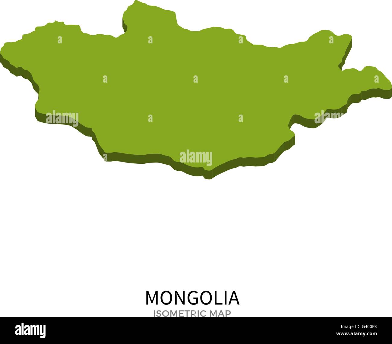 Isometric map of Mongolia detailed vector illustration - Stock Vector