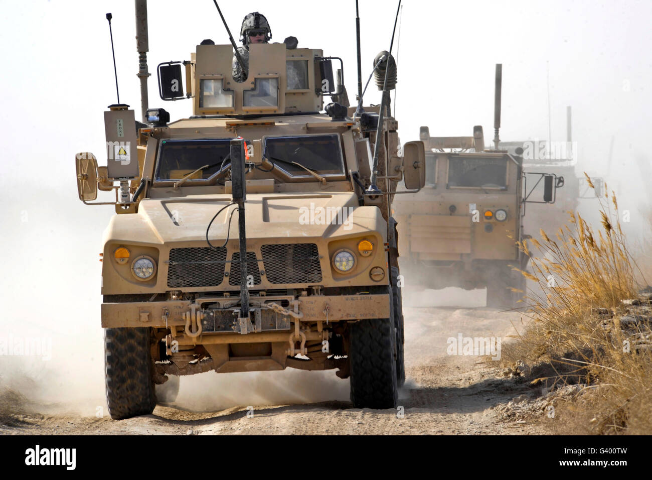 a us army m atv leads a convoy in afghanistan