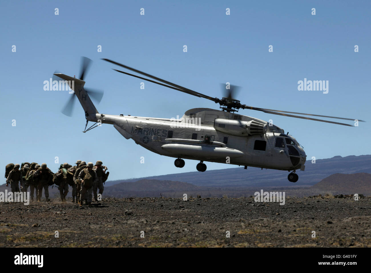 A U.S. Marine Corps CH-53D Seahawk helicopter. Stock Photo