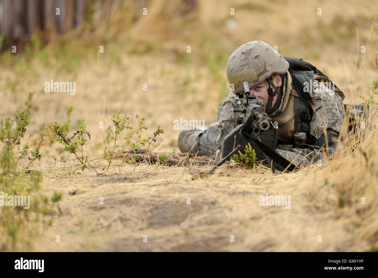 Airman sets up a perimeter during Operation Readiness Exercise. - Stock Image