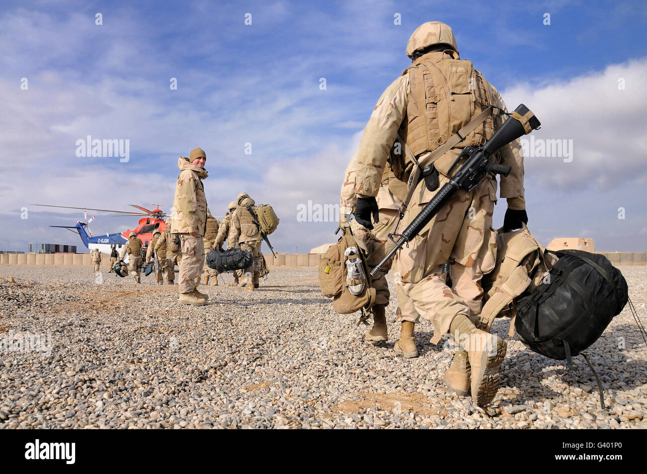 Seabees begin their journey back to homeport. - Stock Image