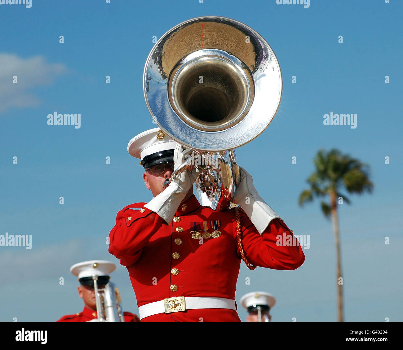 U.S. Marine Corps Drum and Bugle Corps performing. Stock Photo