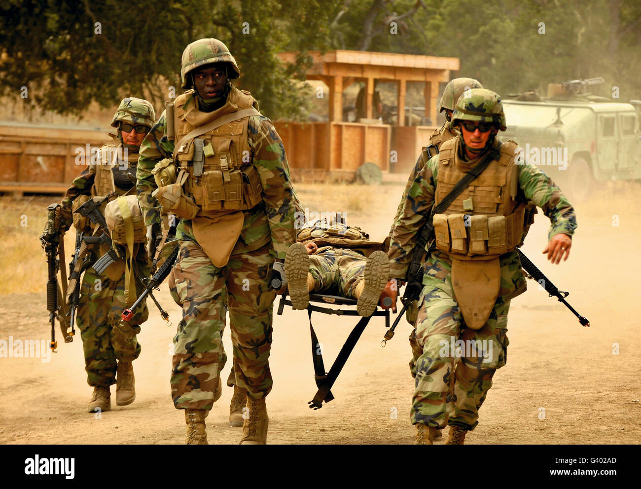 Seabees conduct a mass casualty drill at Fort Hunter Liggett, California. - Stock Image