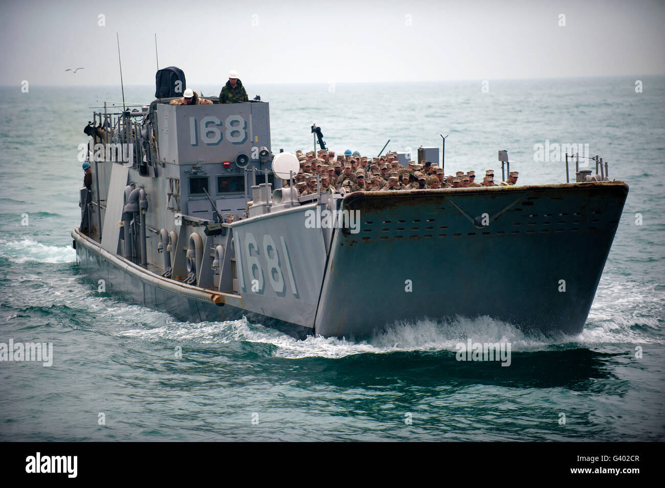 A Landing Craft Utility transits the Arabian Gulf. - Stock Image
