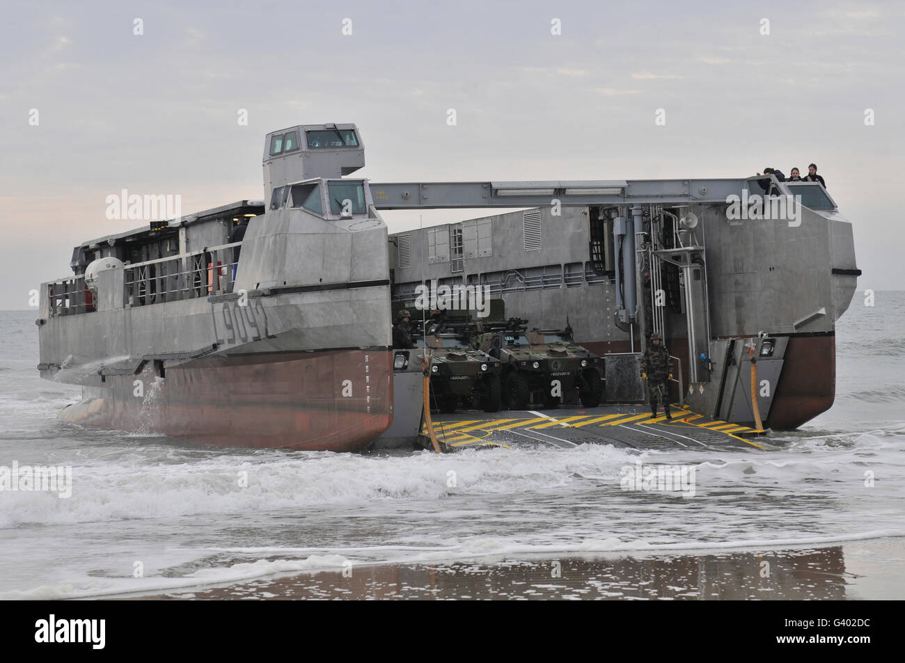 A French landing craft comes ashore during Exercise Bold Alligator. Stock Photo