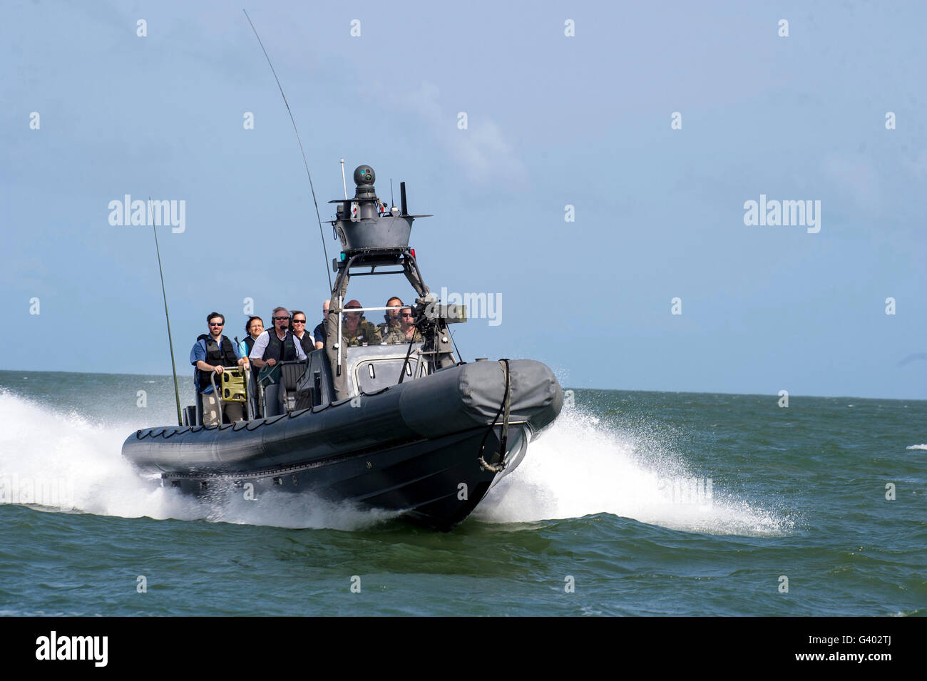 Basic training evolutions from a rigid-hulled inflatable boat. - Stock Image