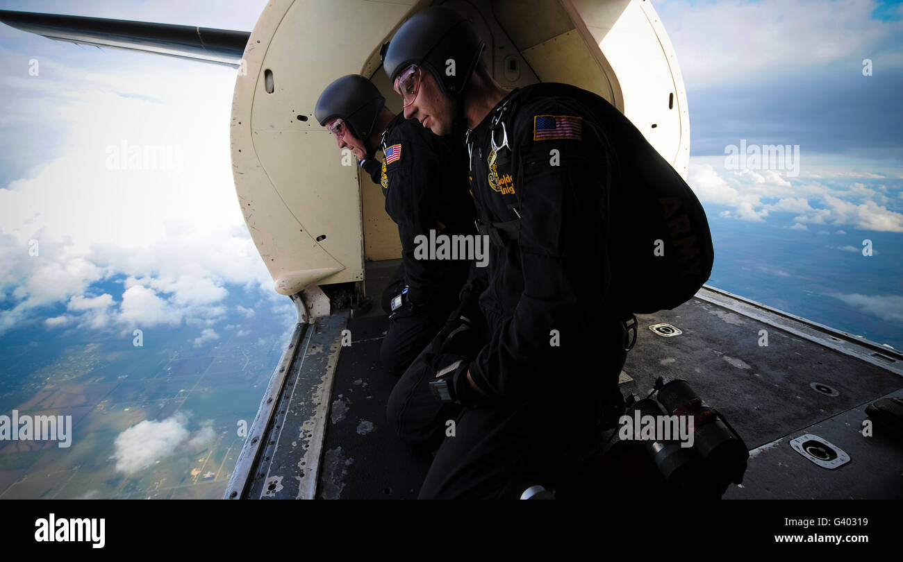 Members of the U.S. Army Golden Knights, monitor wind speeds. - Stock Image