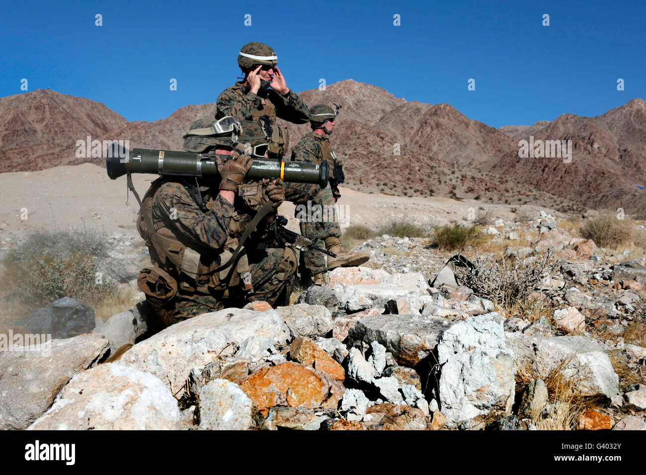 U.S. Marines provide supportive fire with the AT-4 rocket launcher. - Stock Image