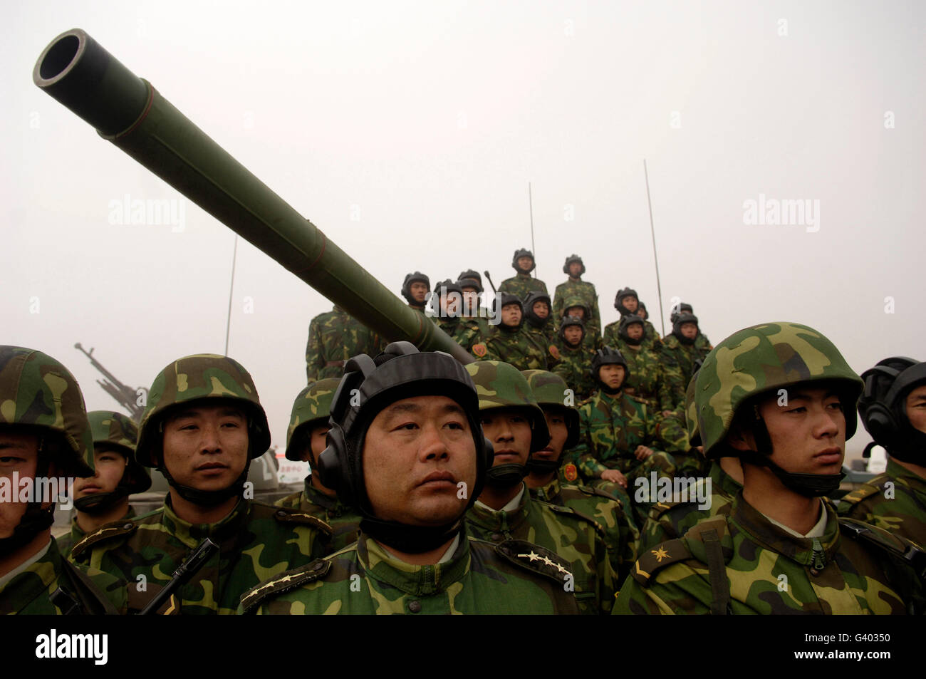 Chinese tanker soldiers with the People's Liberation Army. Stock Photo