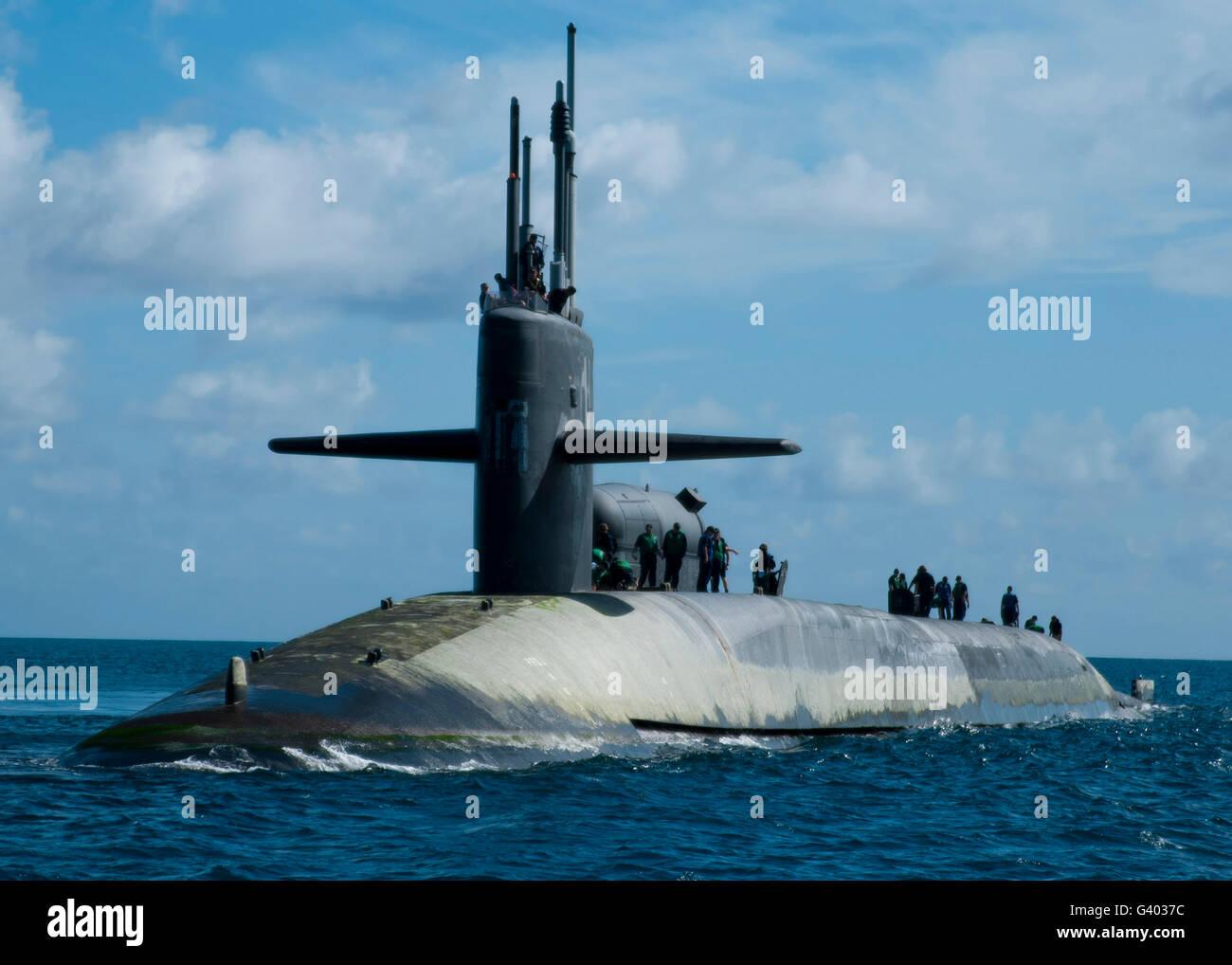 Sailors aboard the guided-missile submarine USS Georgia. - Stock Image
