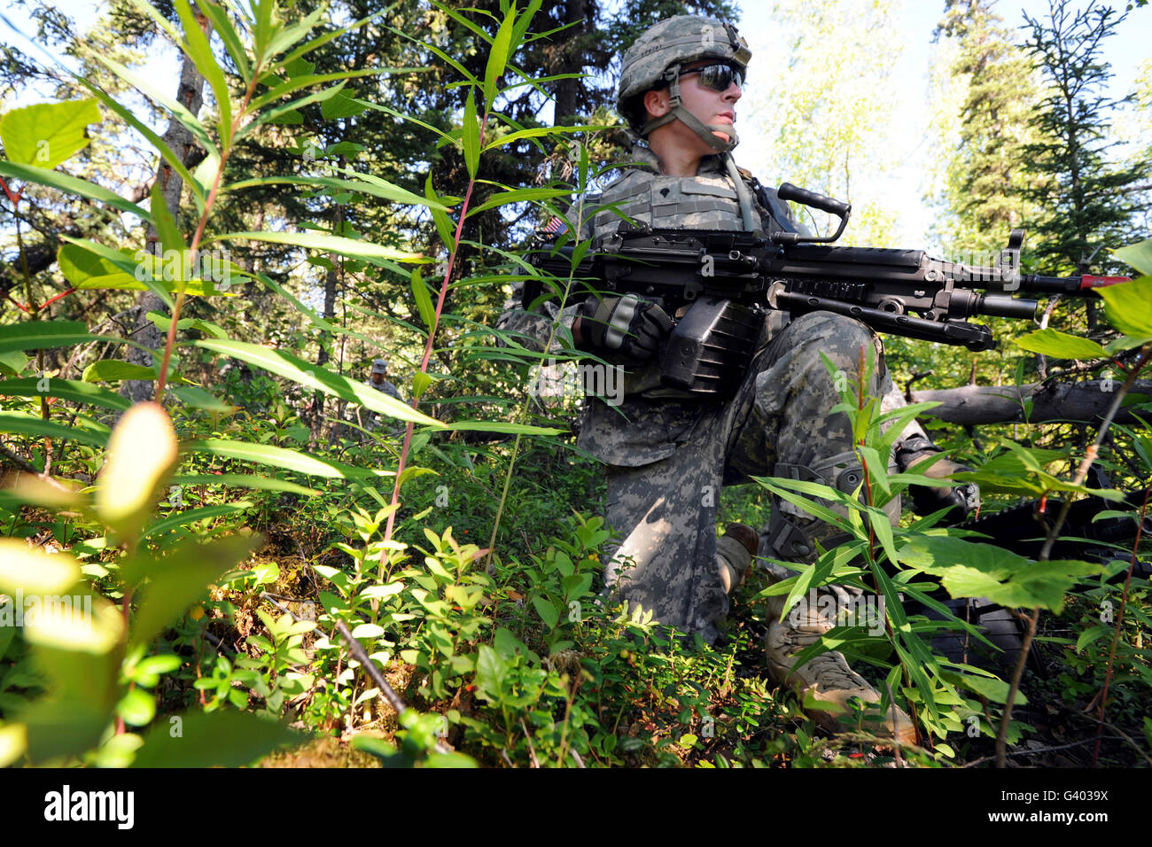 Soldier pulls security at Joint Base Elmendorf-Richardson, Alaska. - Stock Image