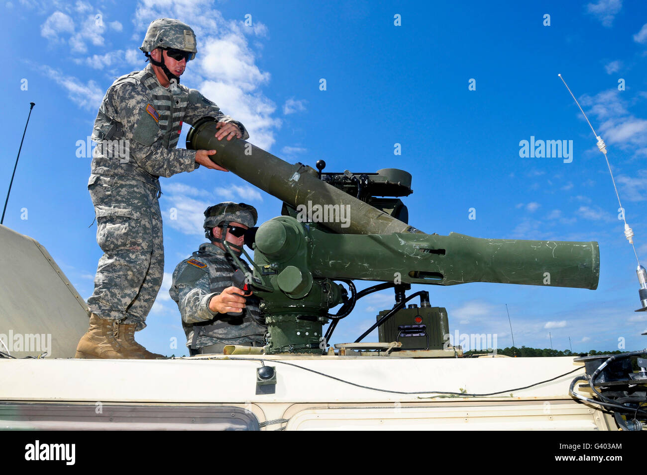 Georgia Army National Guard reload a TOW ITAS missile system. - Stock Image