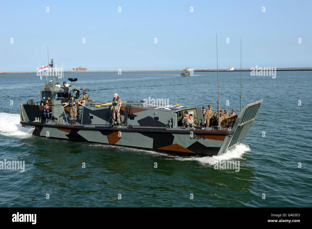 Multinational Marines conduct an amphibious landing rehearsal. - Stock Image