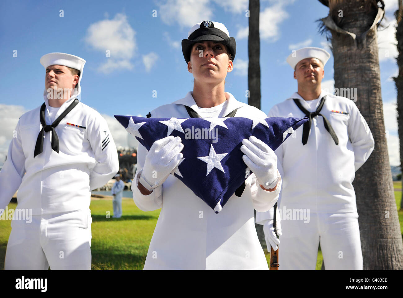Members of the Joint Base Pearl Harbor-Hickam Honors and Ceremonial Guard. - Stock Image