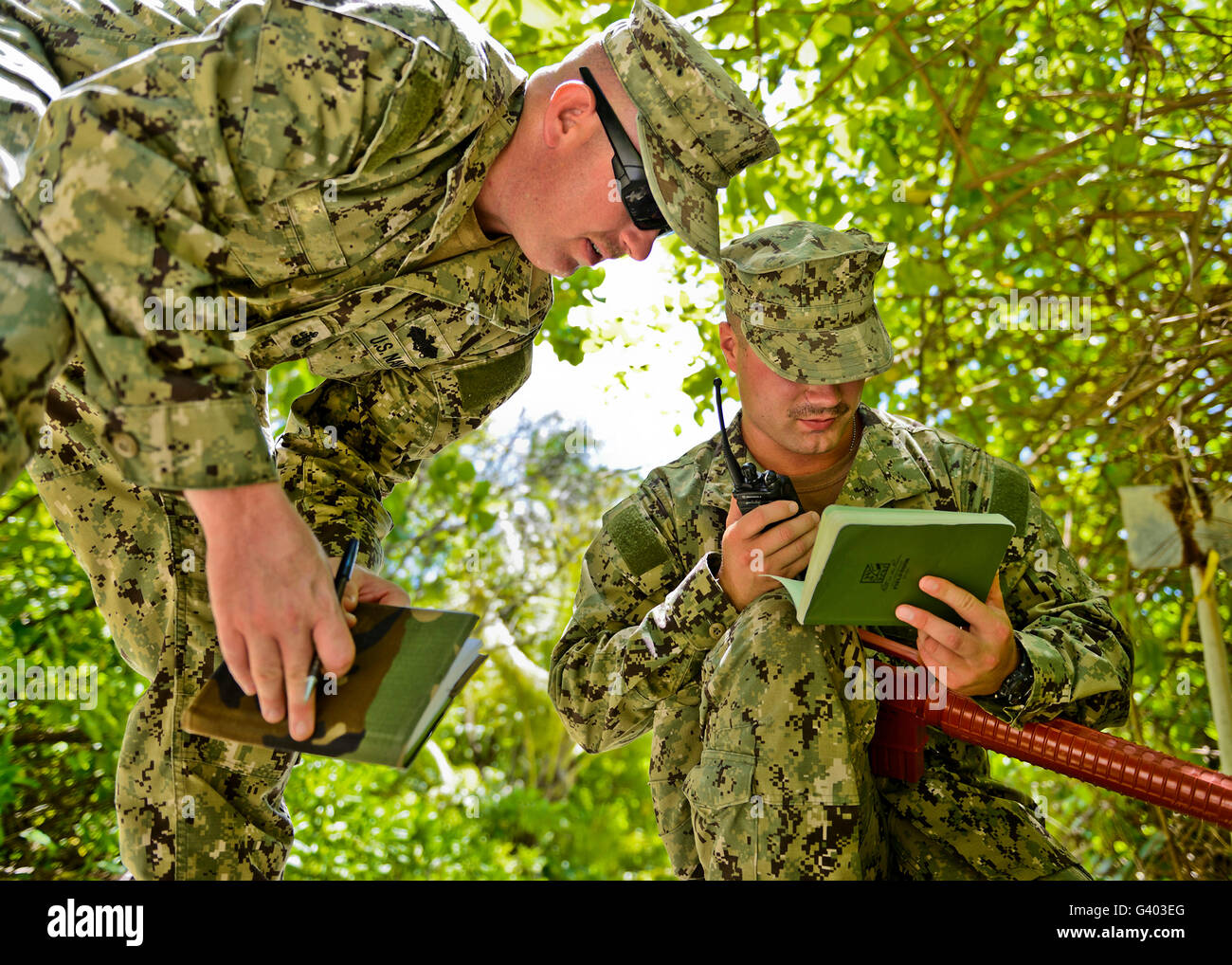 Soldiers training on combat tactics in Diego Garcia. - Stock Image