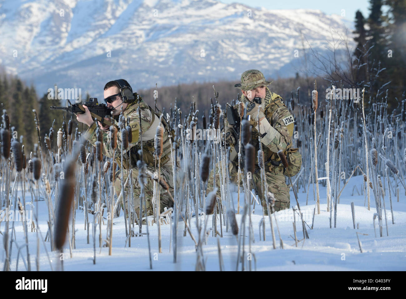 Members of the 3rd Air Support Operations Squadron simulate a patrol. - Stock Image