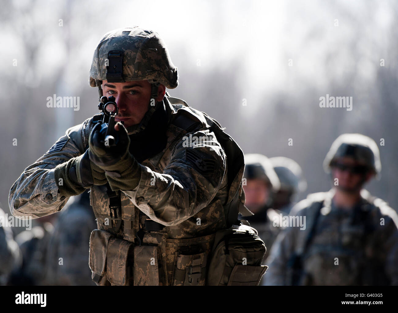 U.S. Soldier assaults a complex at Ramstein Air Base, Germany. - Stock Image