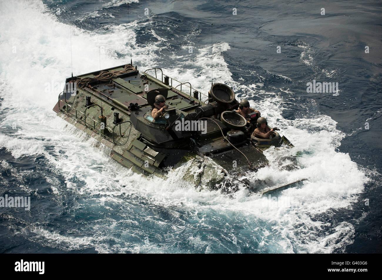 An AAV-7 amphibious assault vehicle. Stock Photo