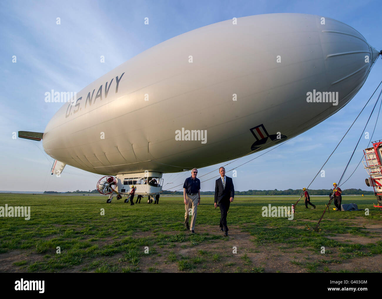 Secretary of the Navy completes a flight aboard the MZ-3A airship. - Stock Image