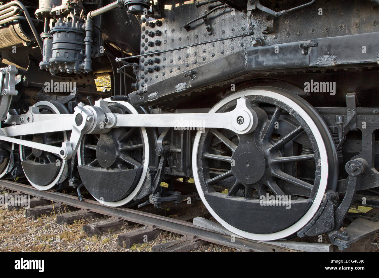Drive wheels main rods connecting, 440 SooLine, Steam Locomotive. - Stock Image