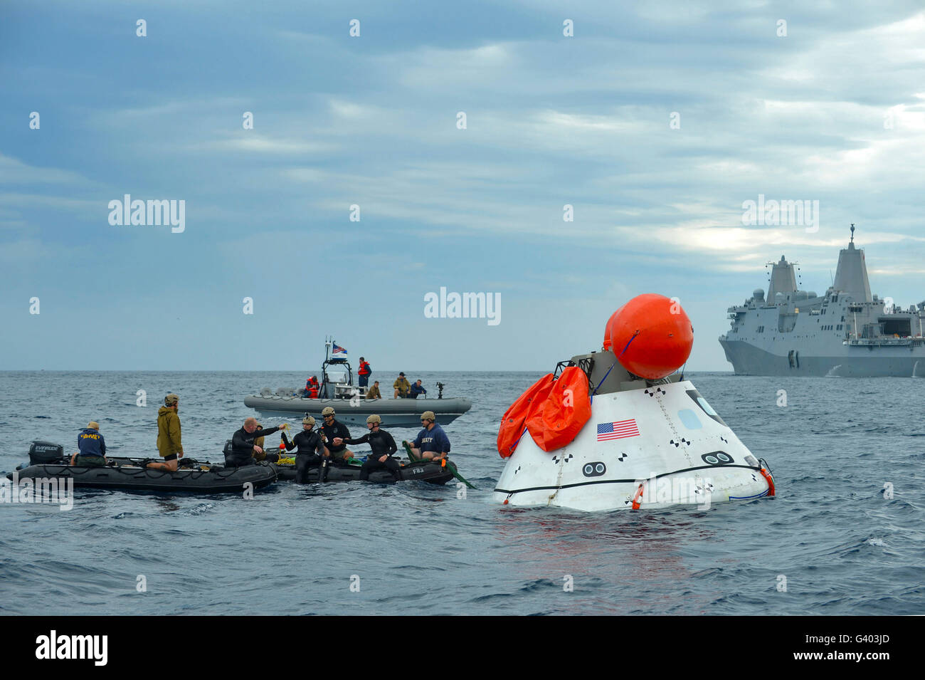 Recovery of the Orion crew module. - Stock Image