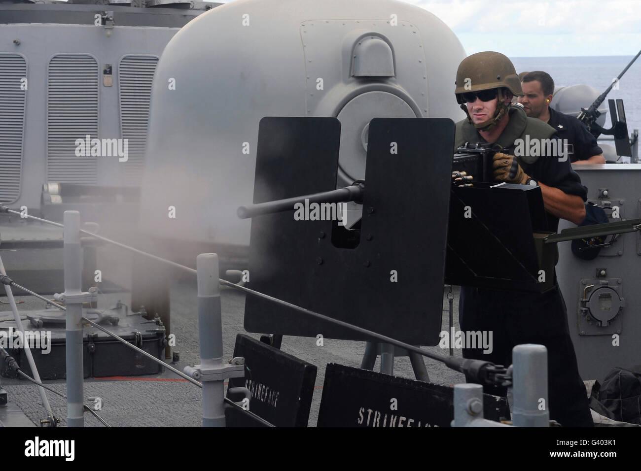 onar Technician fires a .50-caliber machine gun. - Stock Image