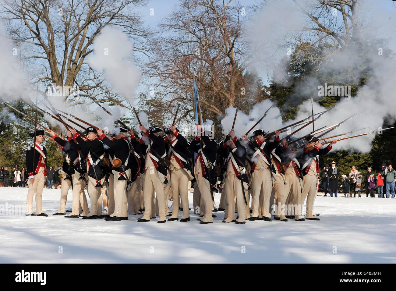 Reenactment of the Revolutionary War battle tactics and customs. - Stock Image