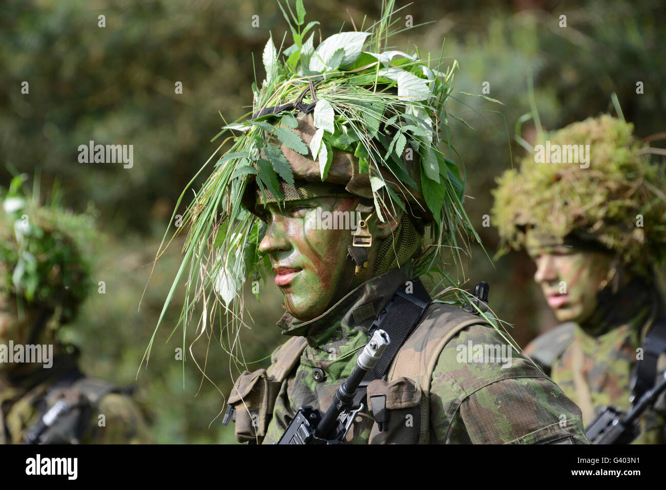 A Lithuanian basic training soldier. - Stock Image