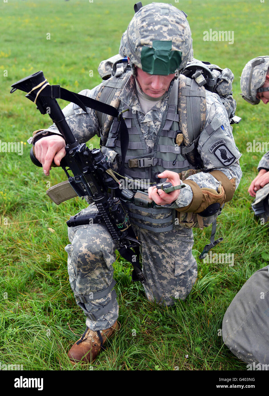 Paratroopers conduct airfield seizure training. - Stock Image