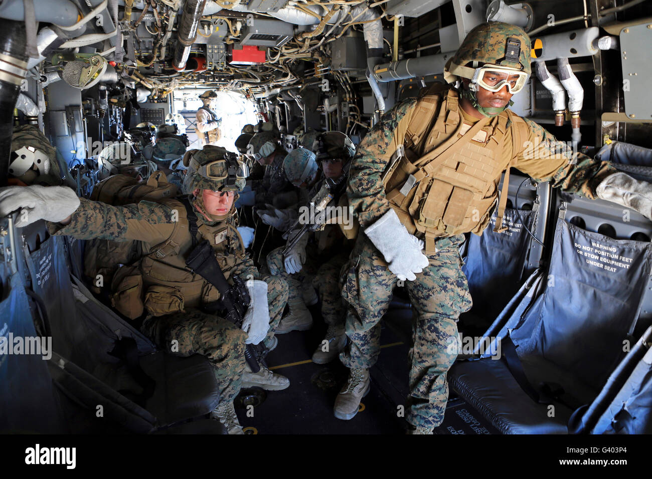 U.S. Marines and Sailors prepare to conduct helicopter rope suspension training. Stock Photo
