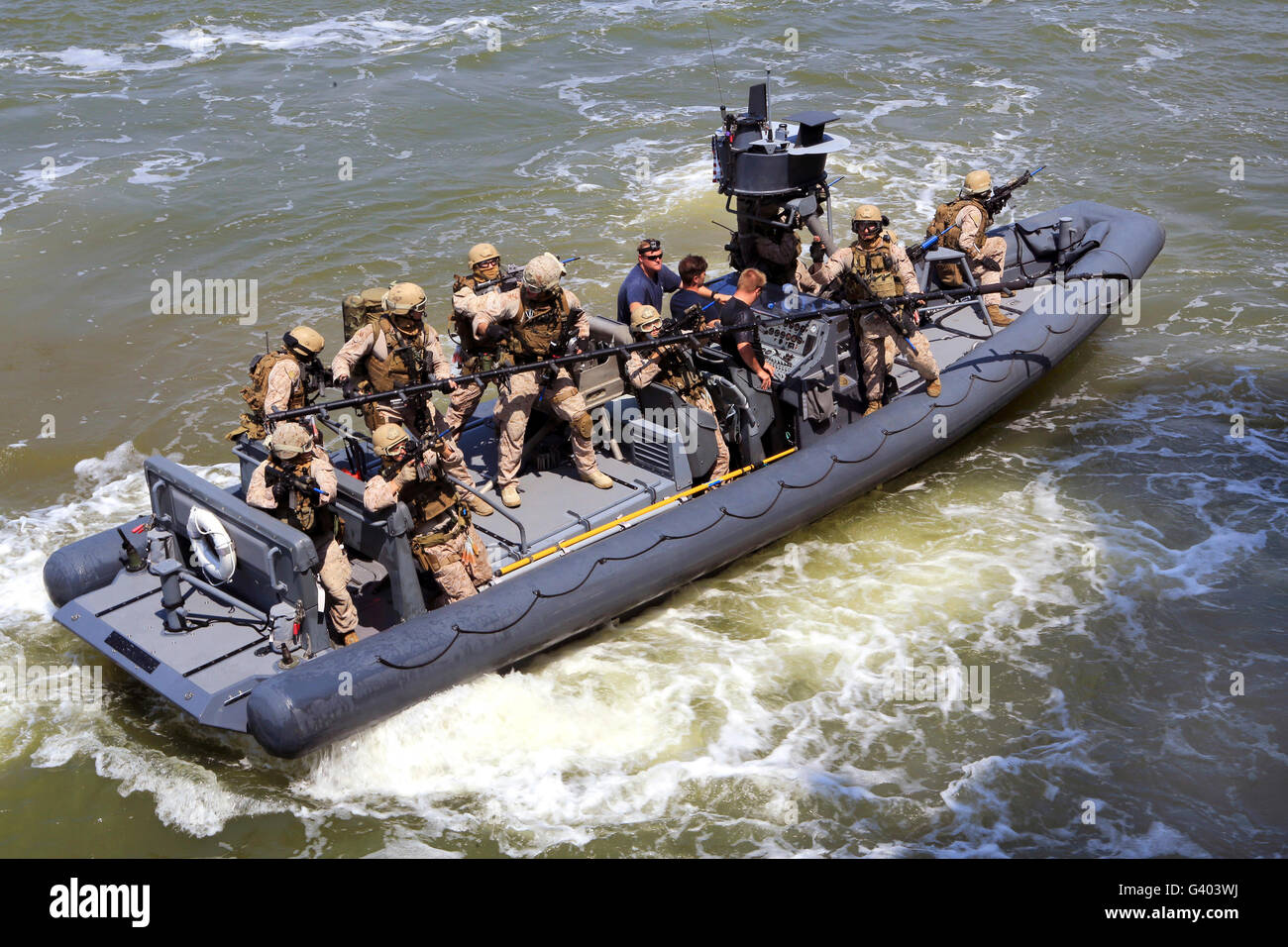 A U.S. Marine Corps visit, board, search and seizure team. - Stock Image