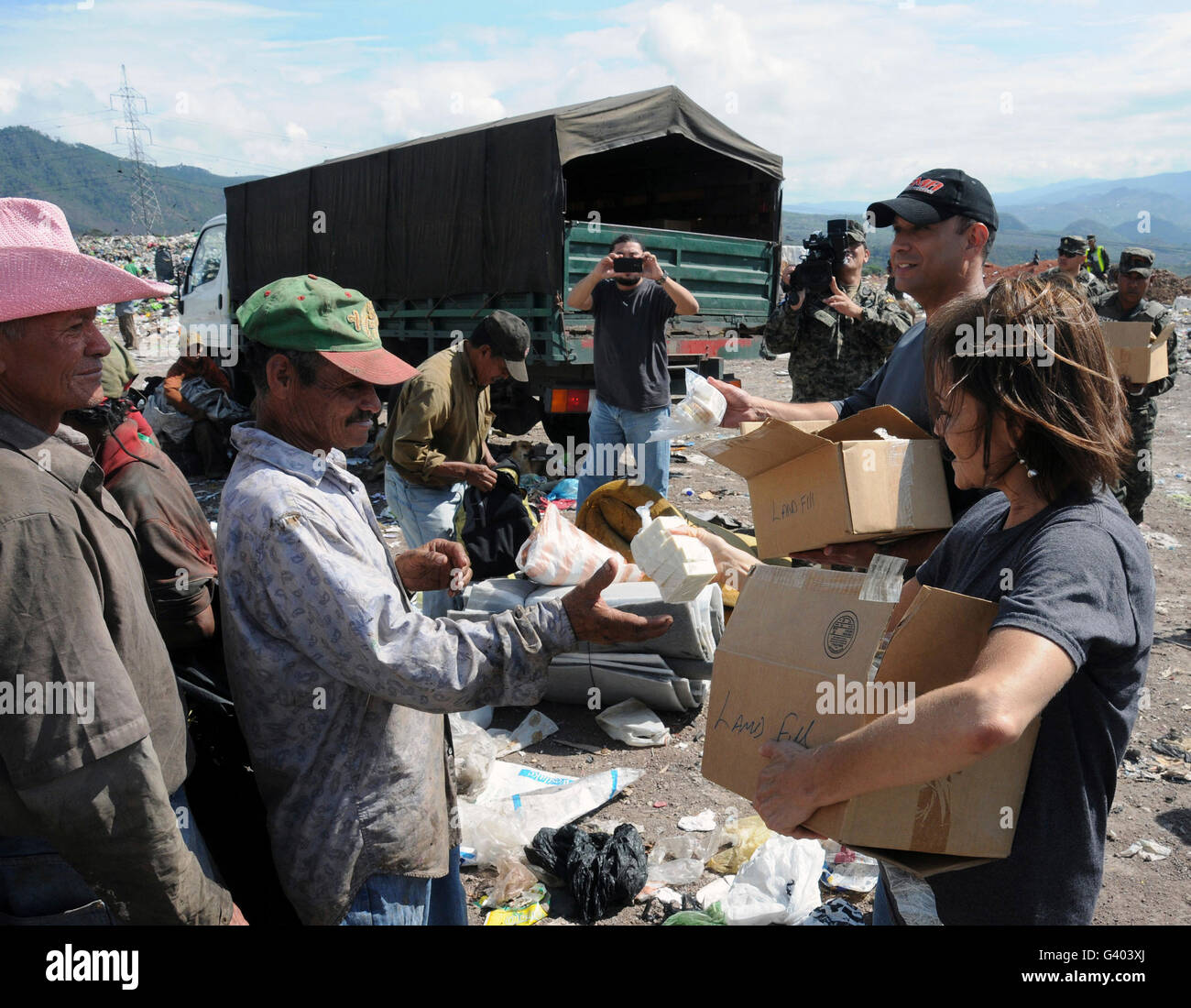 Humanitarian relief efforts in Tegucigalpa, Honduras. - Stock Image