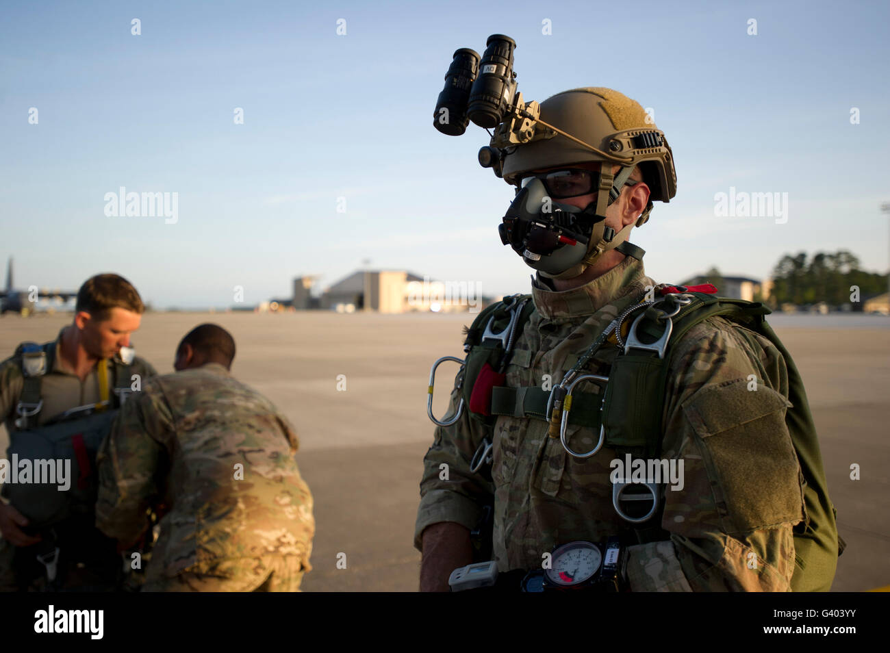 A Green Beret waits to have his gear inspected. - Stock Image
