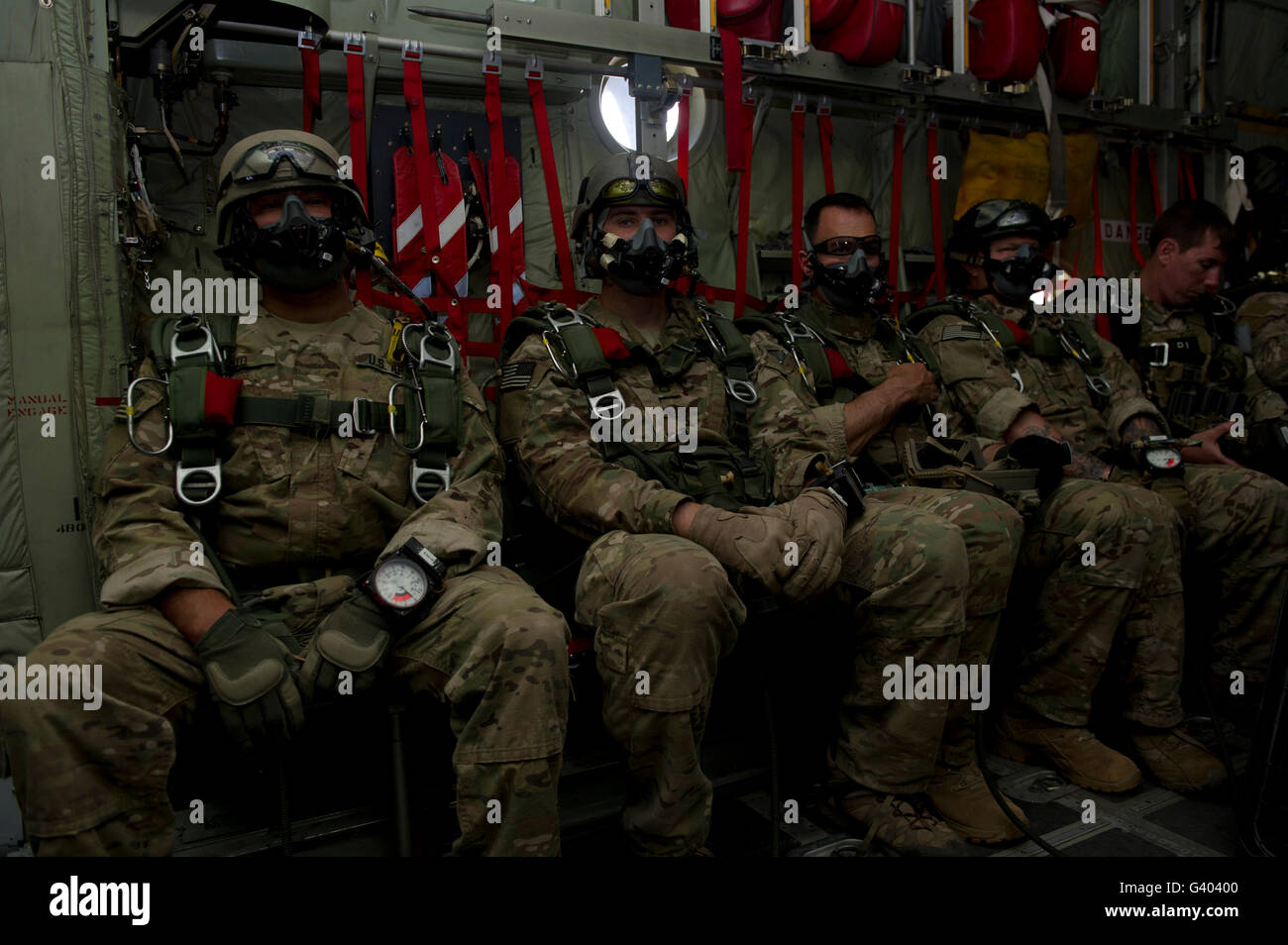 7th Special Forces Group Green Berets wait onboard a C-130  to conduct HALO jumps. Stock Photo