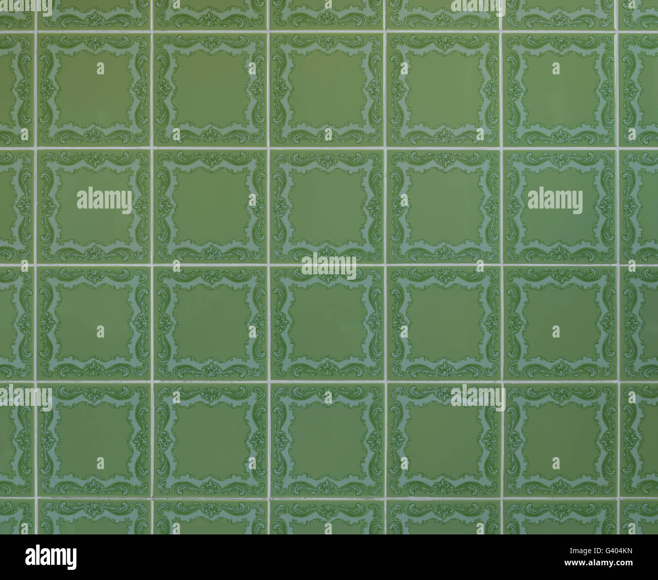 Nostalgic green wall tiles from the seventies - Stock Image