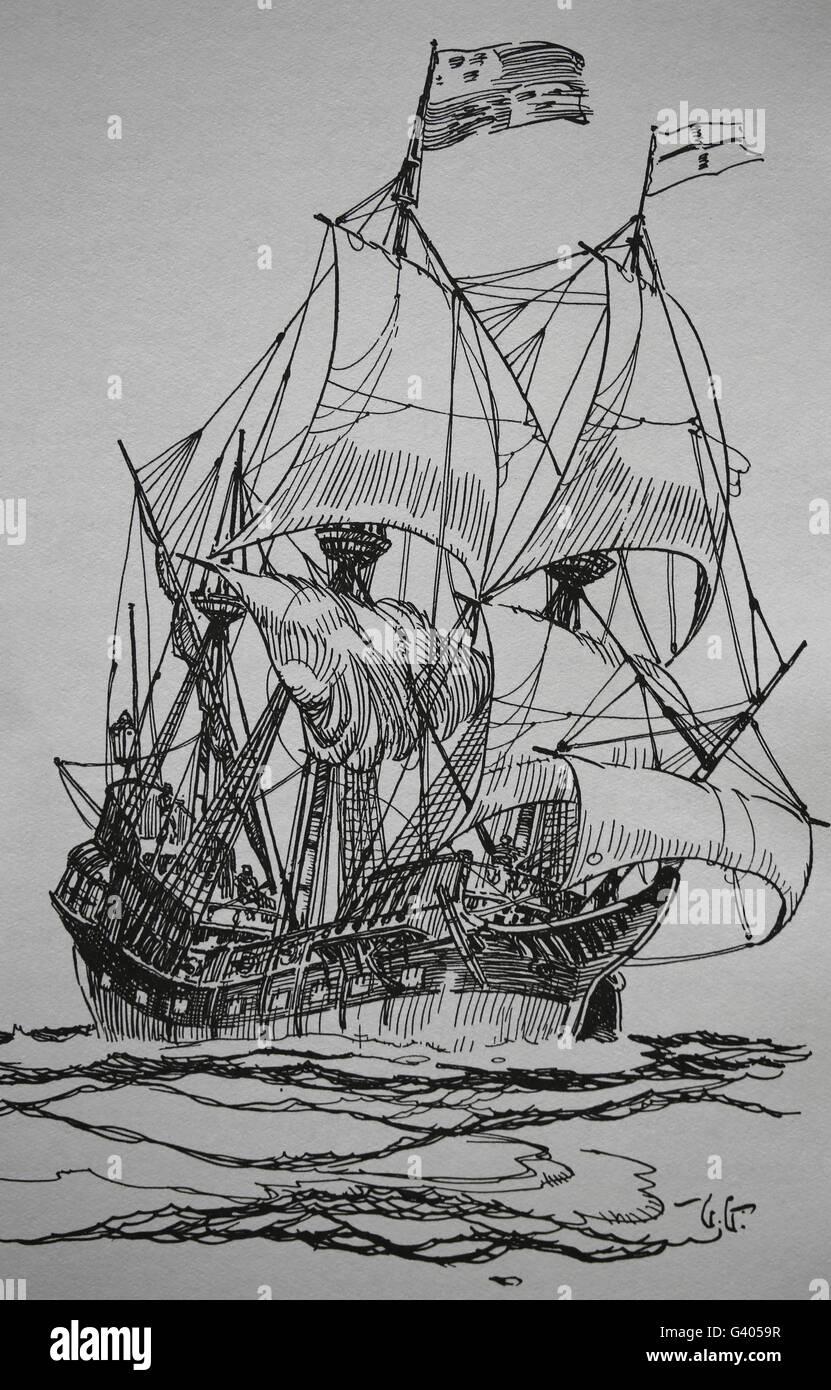 An Elizabethan ship of 1588. Gallion. Modern period. England. Europe. Engraving, 19th century. - Stock Image
