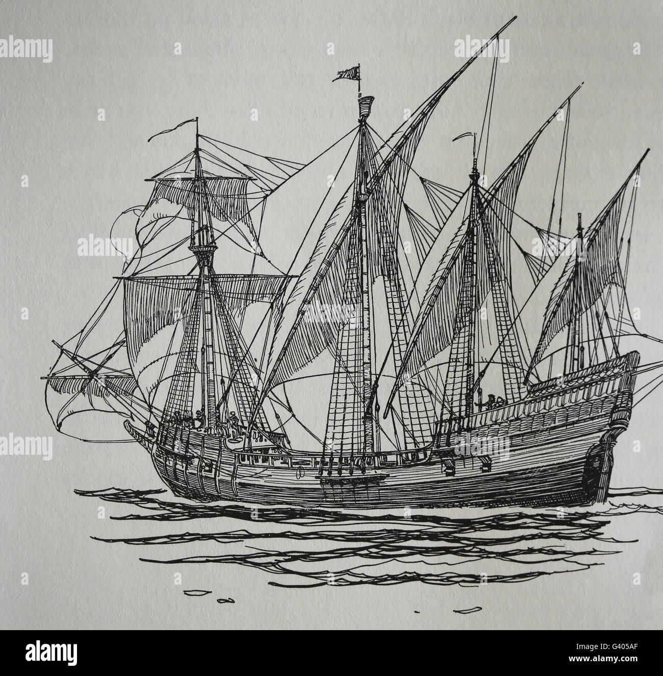 Age of Discovery. The Caravel. 15th-16th century. Engraving. 19th century. - Stock Image